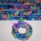 Tropical Flamingos Blue Fabric Hair Tie Scrunchie