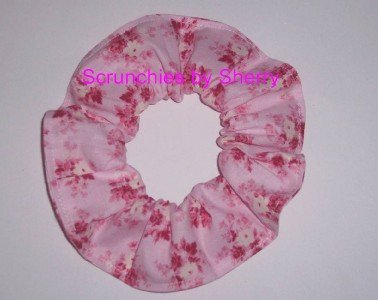 Pink Roses Floral Flowers Fabric Hair Tie Scrunchie Scrunchies by Sherry