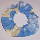 Clouds Moons Stars Blue Fabric Hair Ties Scrunchie Scrunchies by Sherry