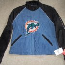 Miami Dolphins Ladies Suede Leather Jacket NFL M NEW