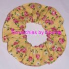 Pink Roses Floral Yellow Fabric Hair Ties Scrunchie