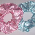 Pink & Blue Zebra Print Satin Fabric Hair Scrunchie