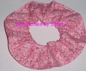 Pink Floral Flowers Cotton Fabric Hair Scrunchie Ties Scrunchies by Sherry