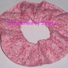 Pink Floral Flowers Cotton Fabric Hair Scrunchie Ties