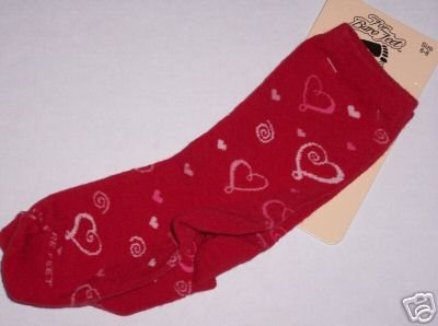 Red Valentine Hearts Socks 6-8 NWT For Bare Feet