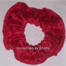 Red Sequin Dots Velour Fabric Hair Ties Scrunchie