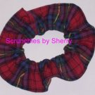 Classic Red Blue Plaid Fabric Hair Scrunchie Ties