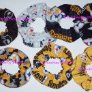 7 Pittsburgh Steelers Fabric Hair Scrunchies Ties NFL