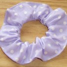 White on Light Purple Polka Dots Dot Fabric Hair Scrunchie Ties