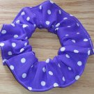 White on Bright Purple Polka Dots Dot Fabric Hair Scrunchie Ties