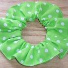 White on Bright Green Polka Dots Dot Fabric Hair Scrunchie Ties