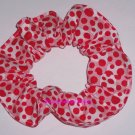 Red Dots on Blocks Polka  Dot Fabric Hair Scrunchie Ties