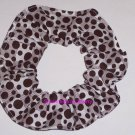 Brown Dots on Blocks Polka  Dot Fabric Hair Scrunchie Ties