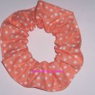 White on Peach Polka Dots Dot Fabric Hair Scrunchie Ties