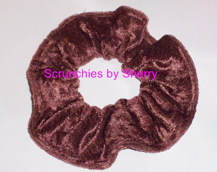 Light Brown Panne Velvet Fabric Hair Scrunchie Scrunchies by Sherry