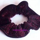 Red Bejeweled Glitter Velvet Fabric hair Scrunchie Scrunchies