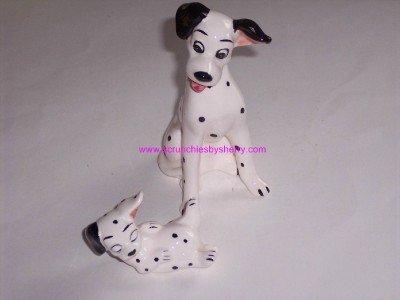2 Walt Disney Vintage 101 Dalmations Ceramic Figurines