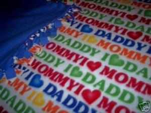I Love Mom & Dad Baby Toddler Fleece Blanket Throw NEW