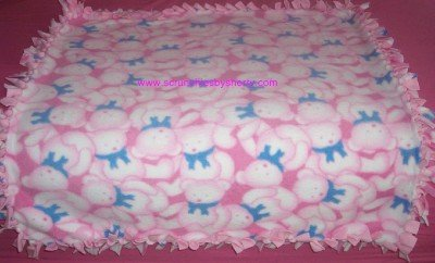 Pink Teddy Bears Fleece Baby Pet Doggie Blanket
