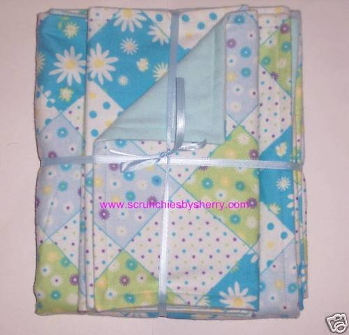 Diamond Flowers Dots Girl Boy Blanket & 2 Burp Cloths