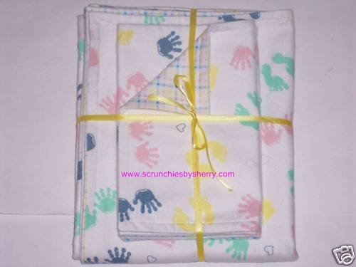 Baby Foot & Hand  Prints Blanket & 2 Burp Cloths Plaid