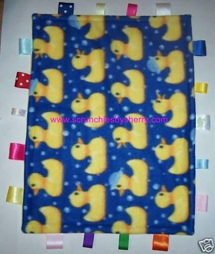 Yellow Ducks on Blue Gold Ribbon Blanket Baby Boy Girl