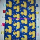 Yellow Ducks on Blue Gold Ribbon Blanket Baby Boy Girl