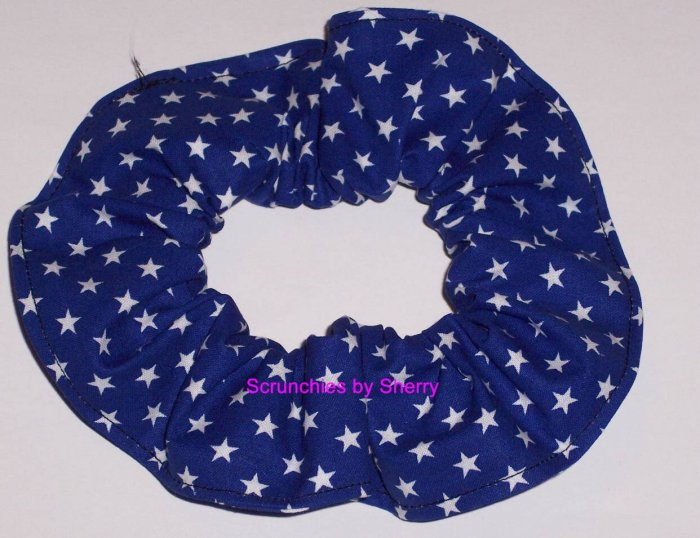 Blue Stars all Over Fabric Hair Scrunchie Scrunchies by Sherry