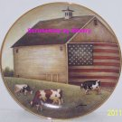 American Folk Art Collector Plate Proud Pasture USA Flag Barn Franklin Mint