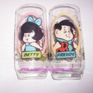 2 Flintstones Fred & Betty Pizza Hut Collectors Glass Vintage