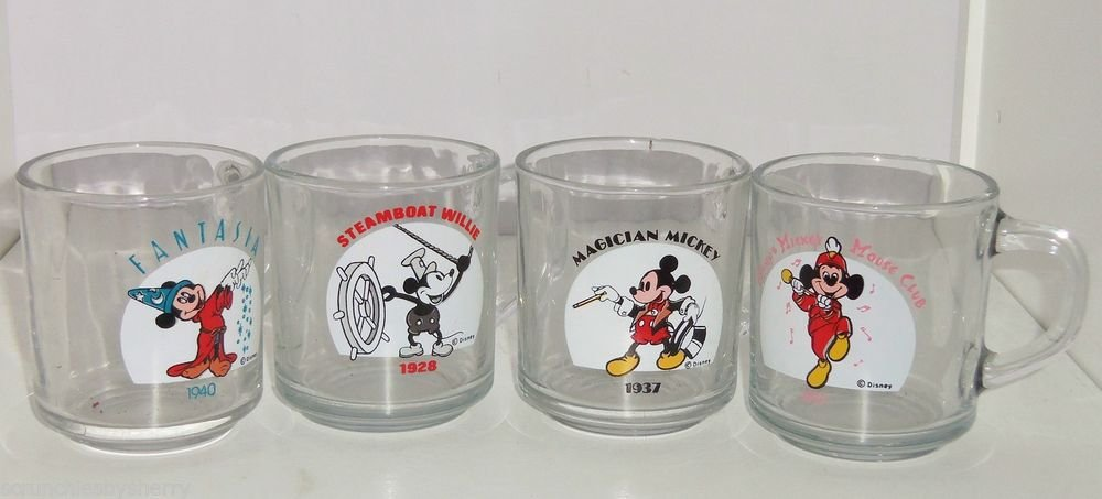 4 Disney Mickey Mouse Mug Glass Steamboat Wille Fantasia Magician Club Years