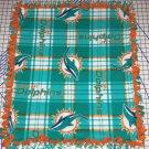 Miami Dolphins Blanket Plaid Fleece Baby Pet Dog NFL Football New Logo Hand Tied