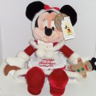 Walt Disney World Minnie Mouse Plush Mrs Claus Christmas Red Velvet Dress Toy