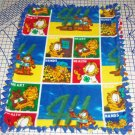 Garfield Cat 4H Fleece Patchwork Baby Pet Lap Hand Tied Blanket Shower Gift New