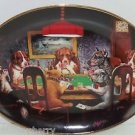Poker Playing Dog Plate Collector Collie Bulldog  Franklin Mint Vintage Retied
