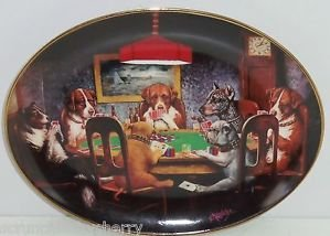 Poker Playing Dog Plate Collector Collie Bulldog  Franklin Mint Ace in the Hole
