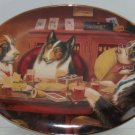 Dogs Playing Poker Plate Collector Collie Bulldog Game Break Franklin Mint