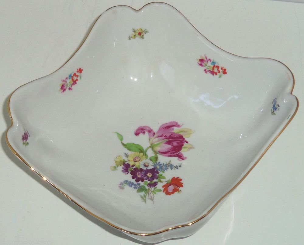 Serving Bowl Floral Square Germany Vintage Bavaria Porcelain Gold Trim