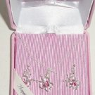 Disney Mickey Mouse Necklace Earrings Silver Butterfly Pink Crystals Theme Park