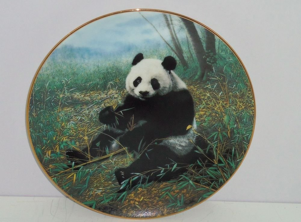 Panda Bear Chinese Treasure Collector Plate Vintage Limited Edition 1991 George