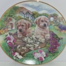 Golden Retriever Little Gardeners Cottage Puppies Collector Plate Vintage 1993