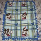 Disney Mickey & Minnie Mouse Blanket Hand Tied Blue Plaid Fleece Baby Pet Lap