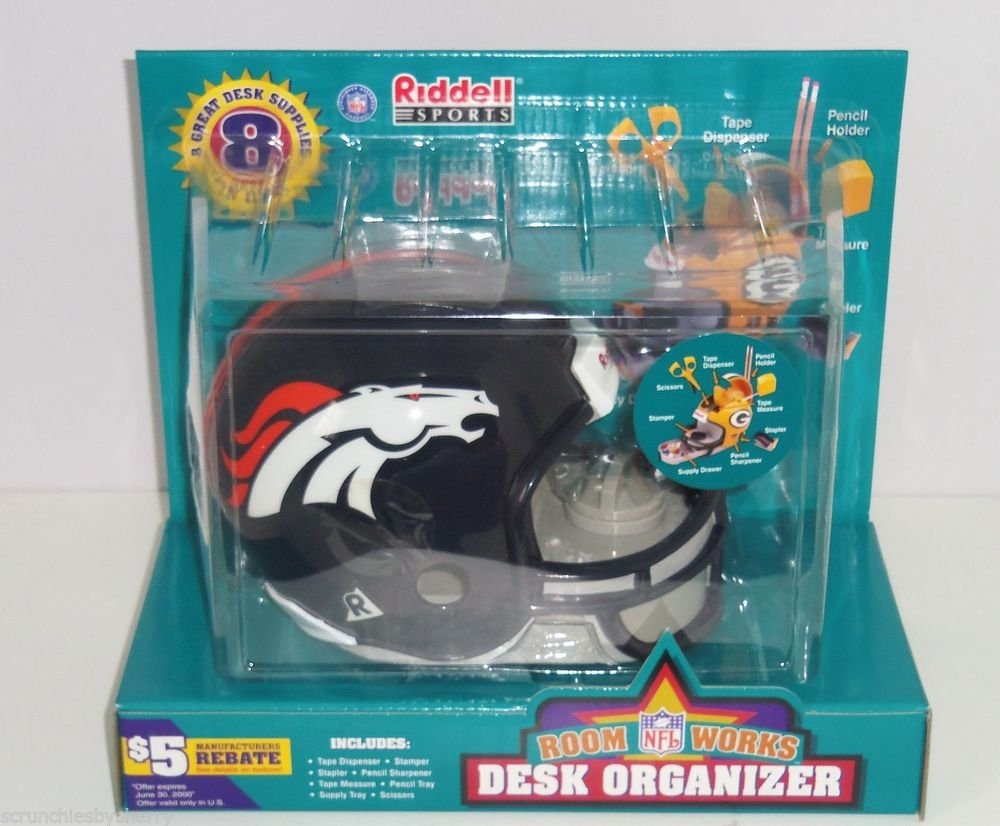 Denver Broncos Helmet Desk Organizer Riddell NFL Football Office Supplies