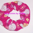 Hair Scrunchie Volley Balls Fabric Hair Hot Pink Pony Tail Holder