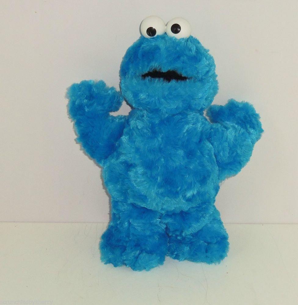 Cookie Monster Sesame Street Blue Fluffy Bean Bag Plush Toy 2002