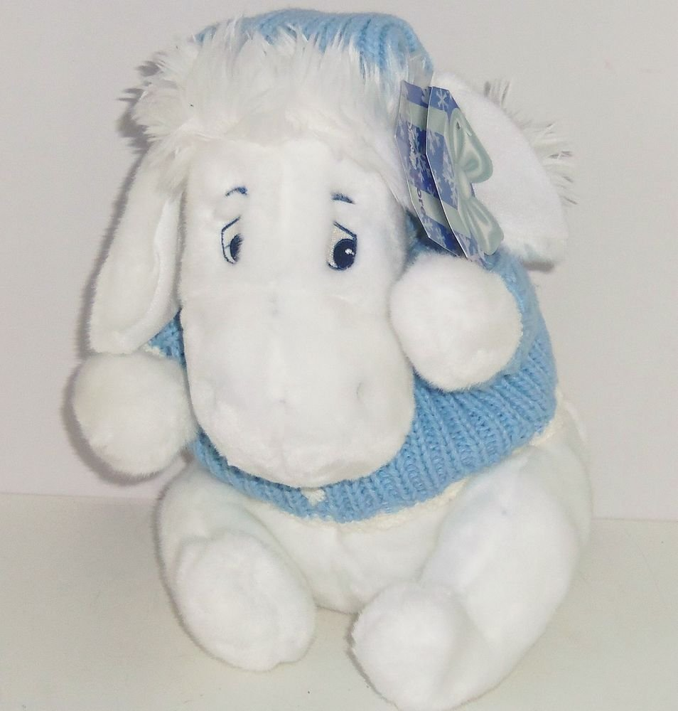 Disney Store Eeyore Plush White Snowflake Blue Sweater Winnie Winter Holiday