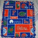 Florida Gators Orange Blue Patchwork Hand Tied Fleece Baby Pet Dog Lap Blanket