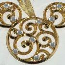 Disney Mickey Holiday Christmas Ornament Icon Gold Bohemian FiligreeTheme Parks