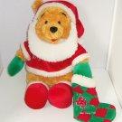 Disney Winnie Pooh Bear Santa Claus Fluffy Bean Plush Toy Stocking Theme Parks