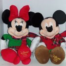 2 Disney Store Mickey Minnie Mouse Christmas Plush Toy Stuffed Animal 2012